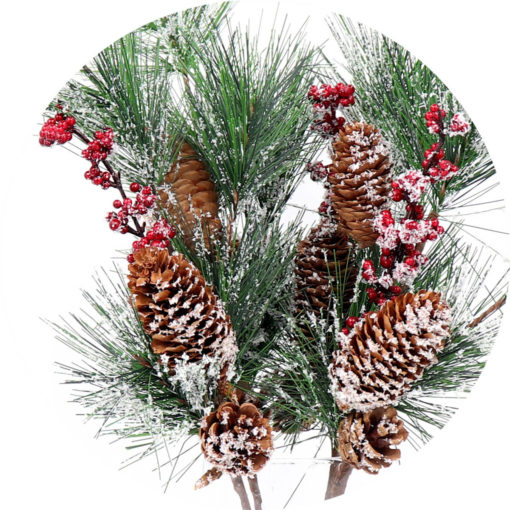 4x 52cm Christmas Artificial Snow Branch Flower Pine Cone Leaves Red Berry Décor