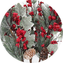 4x 54cm Christmas Artificial Snow Flower Branch Holly Red Berry Pine Cone Leaves