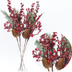 4x52cm Christmas Artificial Flower Holly Red Berry Pine Cone Leaves Branch Décor