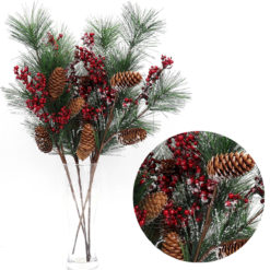 4x54cm Christmas Artificial Flowers Snow Holly Branch Red Berry Pine Cone Leaves