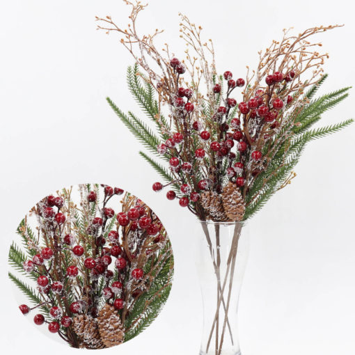 4x55cm Christmas Artificial Flowers Snow Holly Red Berry Pine Cone Branch Leaves