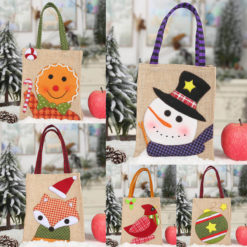 5x Christmas Canvas Treat Candy Cookie Kids Gift Bags Home Party Stocking Décor