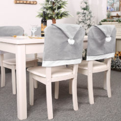 6x Christmas Grey Santa Hat Chair Covers Dinner Table Home Décor Ornaments Gift