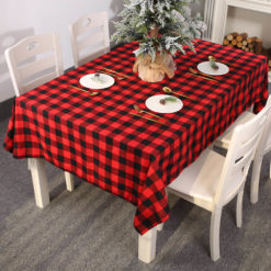 Christmas Table Cloth Runner Red Black Check Tableware Xmas Dining Party Décor